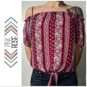 LIKE NEW Pink Rose Off Shoulder Blouse Small S